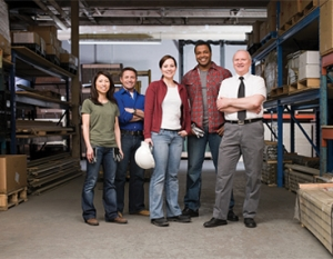Manufacturing group of people